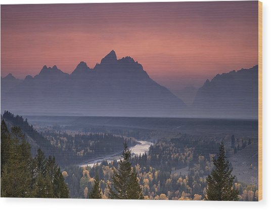 Misty Teton Sunset Wood Print by Andrew Soundarajan