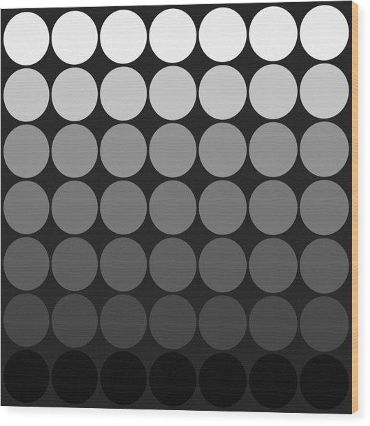 Mod Pop Gradient Circles Black And White Wood Print