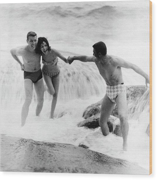 Models Wearing Swimwear Wood Print by Richard Waite