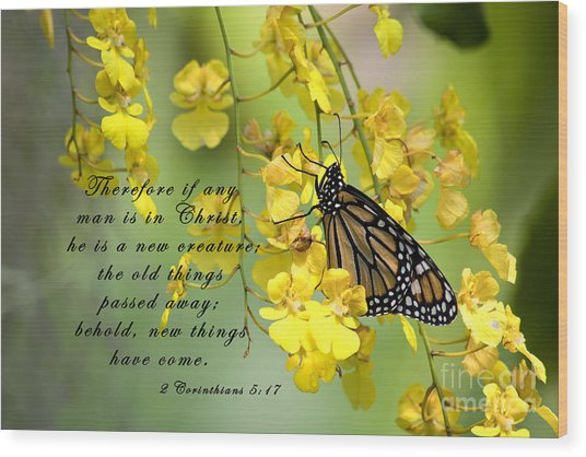 Monarch Butterfly With Scripture Wood Print