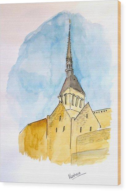 Mont Saint Micheal Wood Print