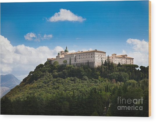 Monte Cassino  Abbey On Top Of The Mountain Wood Print