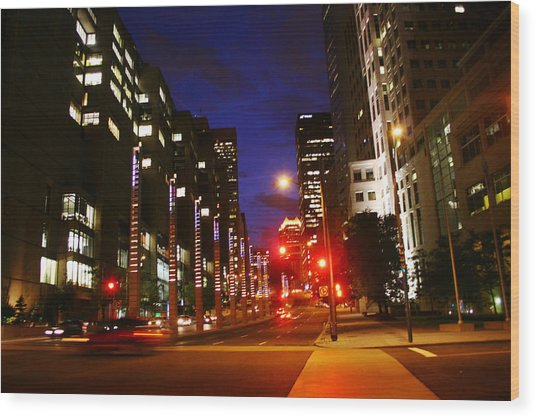 Montreal By Night Wood Print by Isabel Poulin