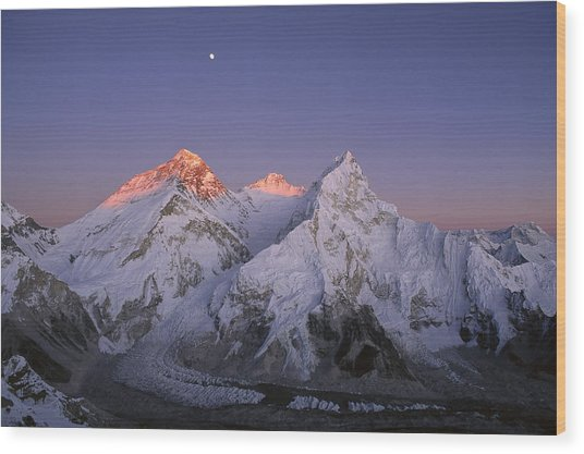 Moon Over Mount Everest Summit Wood Print