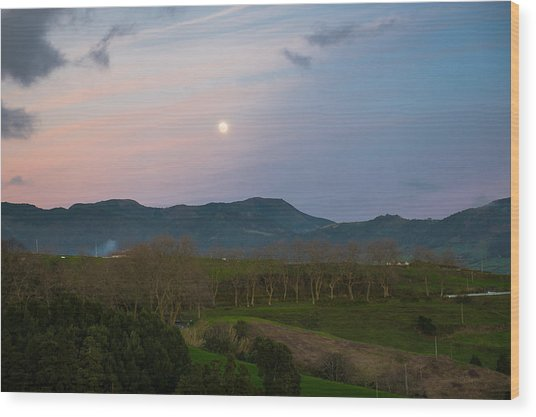 Moon Over The Hills Of Povoacao Wood Print