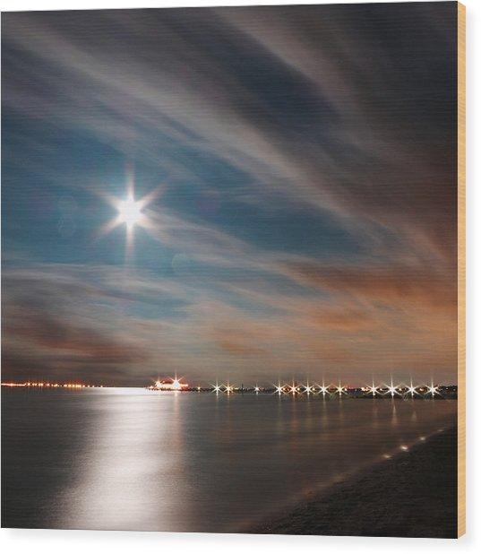 Moon Rise Over Anna Maria Island Historic City Pier Wood Print