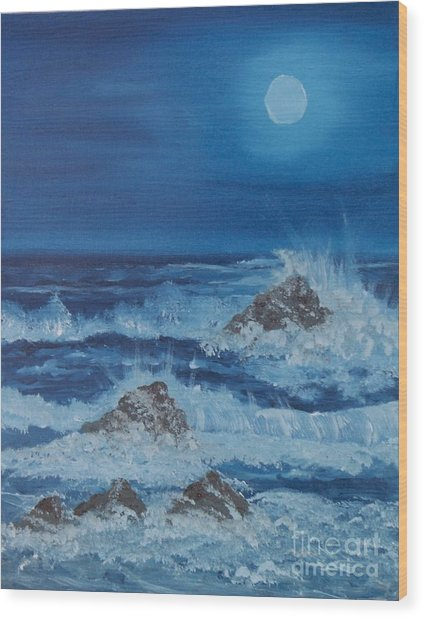 Moonlit Waves Wood Print