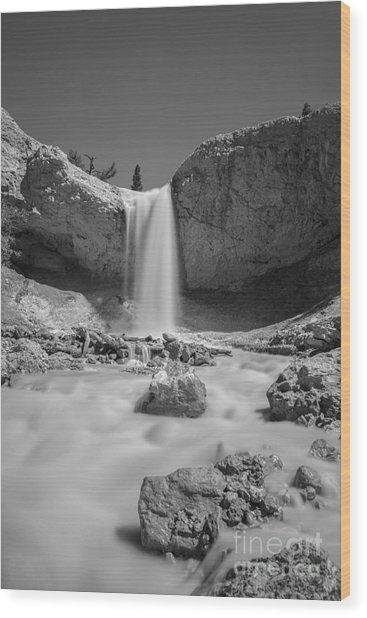 Mossy Cave Waterfall Bw Wood Print