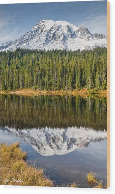 Mount Rainier And Reflection Lakes In The Fall Wood Print