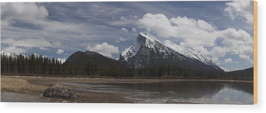 Mount Rundle And Vermilion Lake Wood Print