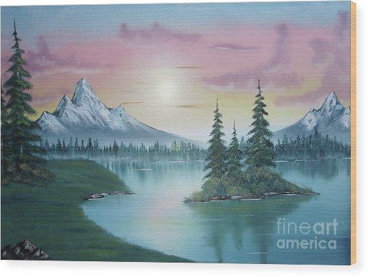 Mountain Lake Painting A La Bob Ross 1 Wood Print