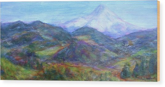 Mountain Patchwork Wood Print