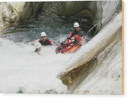 Mountain Rescue Workers Wood Print