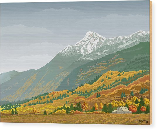 Mt Cheam In Autumn Wood Print