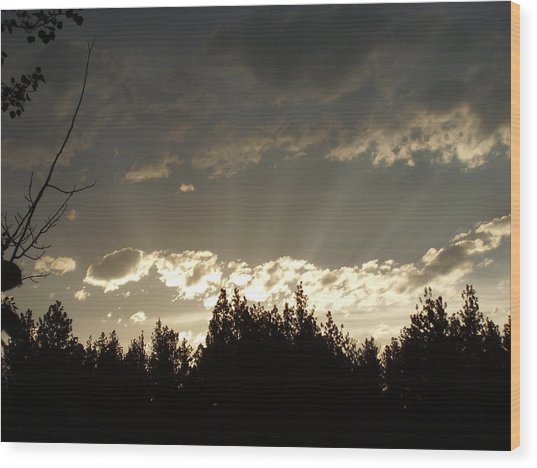 Mt Sunset Wood Print by Yvette Pichette