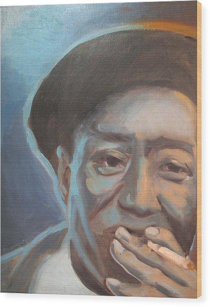 Muddy Waters Blues Guitarist Wood Print