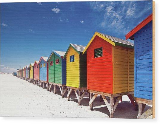 Muizenberg Beach Cape Town Wood Print by Ferrantraite