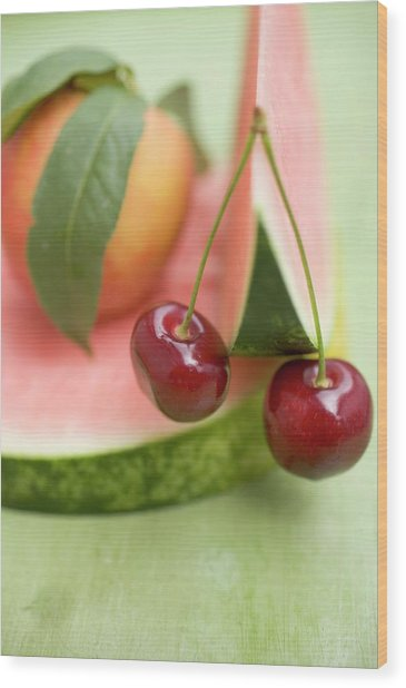 Nectarine With Leaves, Watermelon And Cherries Wood Print