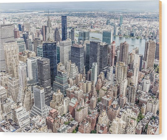 New York City From The Empire State Building Wood Print
