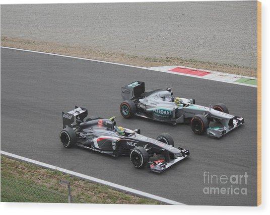 Nico Rosberg And Esteban Gutierrez Wood Print
