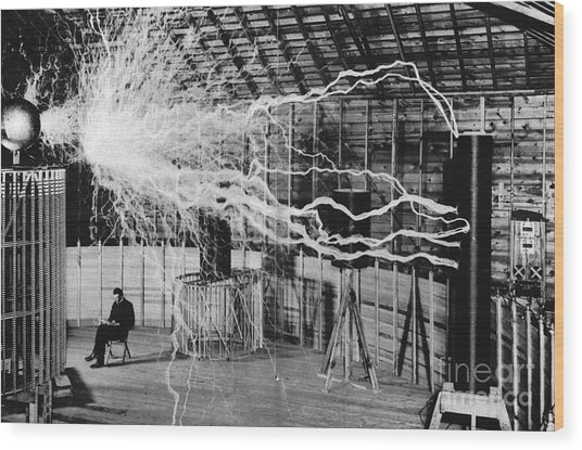 Nikola Tesla Serbian-american Inventor Wood Print