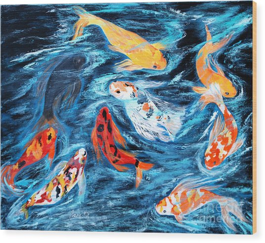Good  Luck Painting. Nine Koi Fish. Inspirations Collection. Wood Print