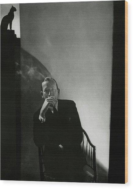Noel Coward Smoking Wood Print