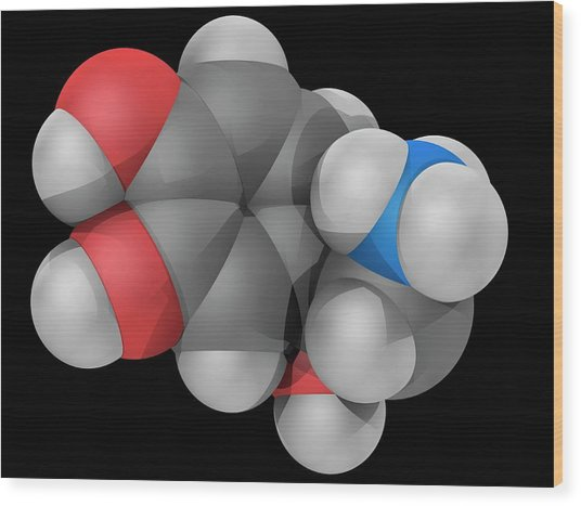 Norepinephrine Molecule Wood Print by Laguna Design/science Photo Library