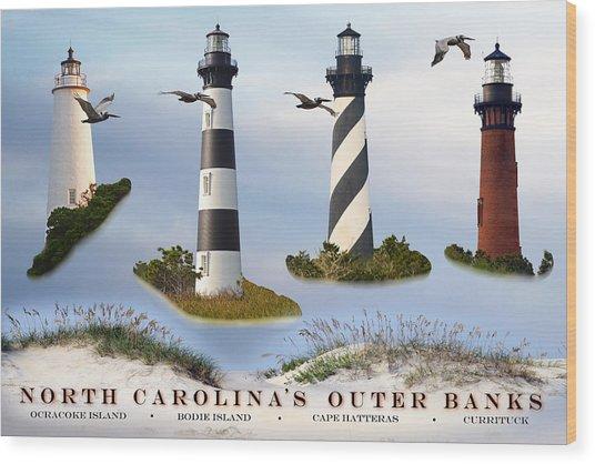 North Carolina's Rt. 12 Lighthouses Wood Print