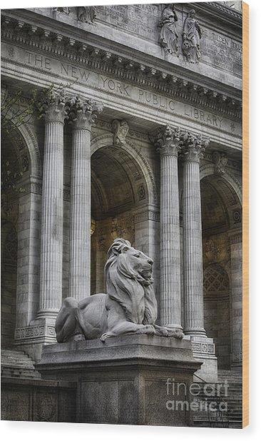 Ny Library Lion Wood Print