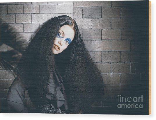 Occult Medieval Performer On Castle Brick Wall Wood Print
