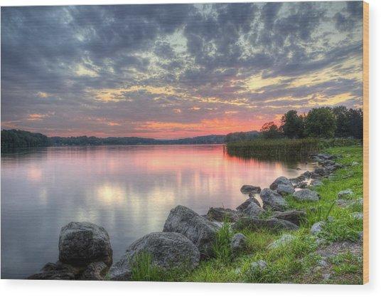 Ohio Lake Sunset Wood Print