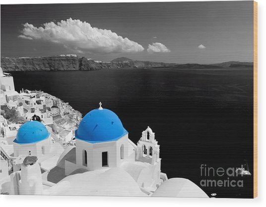 Oia Town On Santorini Island Greece Blue Dome Church Black And White. Wood Print