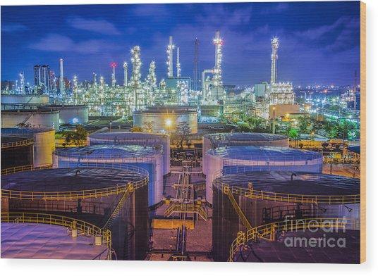 Oil Refinary Industry  Wood Print