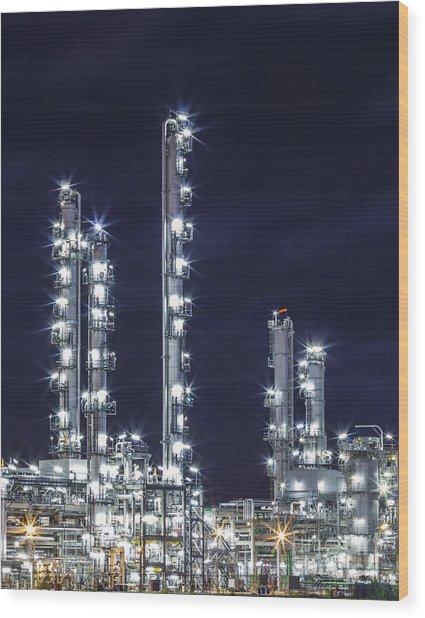 Oil Refinery Industry Wood Print