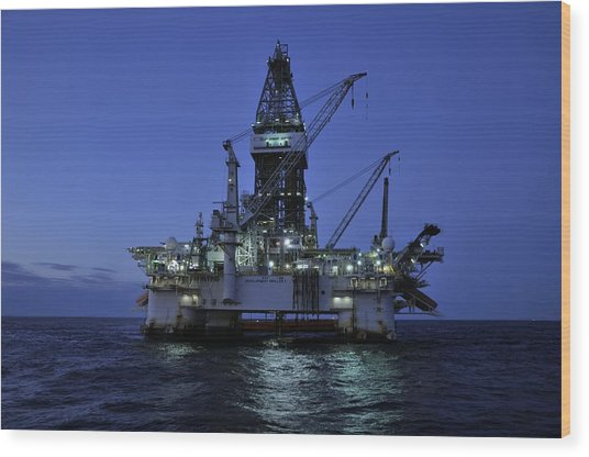 Oil Rig At Night Wood Print