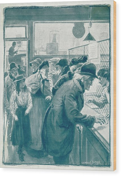 Old Age Pensions Are  Introduced Wood Print by Mary Evans Picture Library