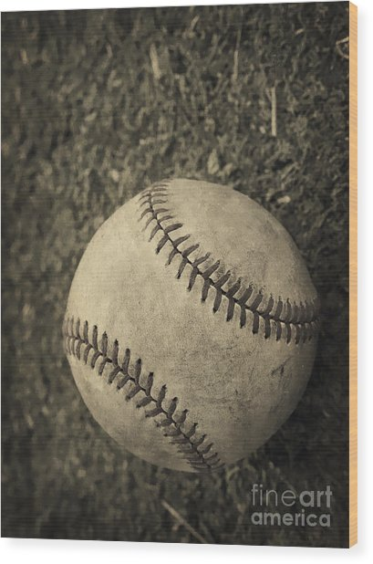 Old Baseball Wood Print