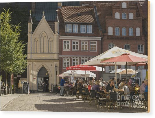 Old Market Square Stralsund Germany Wood Print by David Davies