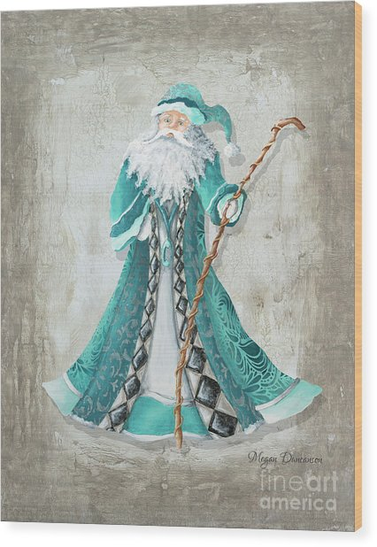 Old World Style Turquoise Aqua Teal Santa Claus Christmas Art By Megan Duncanson Wood Print