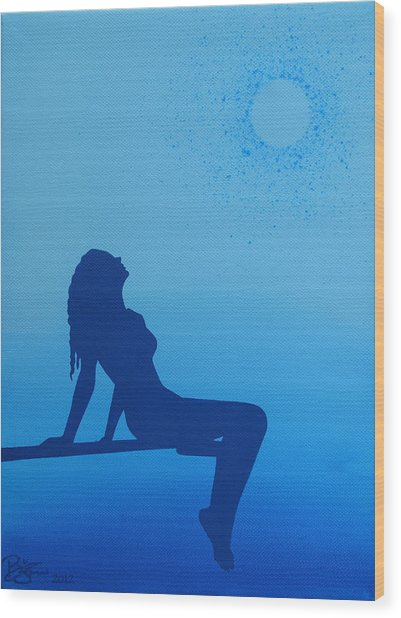 Once In A Blue Moon Wood Print by Lance Bifoss