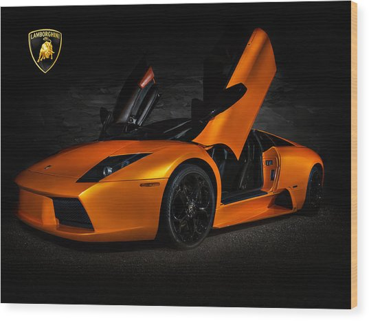 Orange Murcielago Wood Print