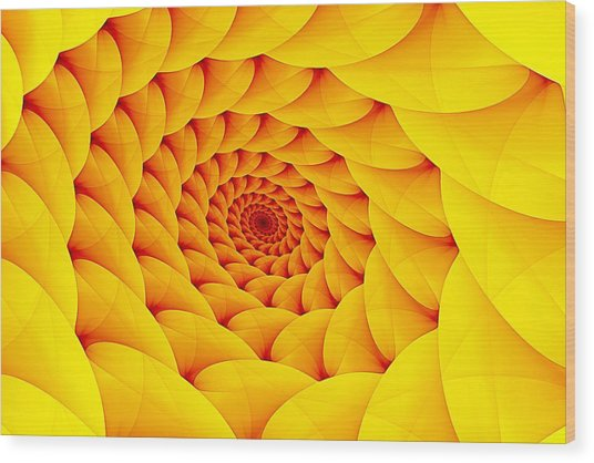 Yellow Pillow Vortex Wood Print