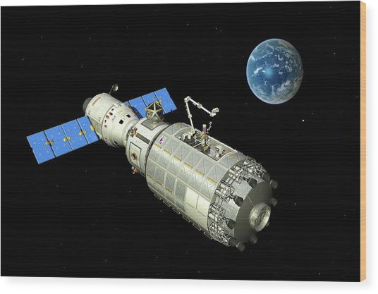 Orbital Maintenance Docking Wood Print