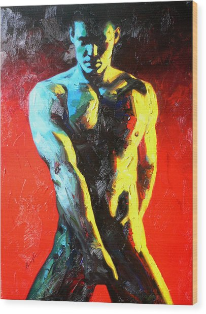 Original Abstract Oil Painting Art-male Nude By Kinfe Wood Print