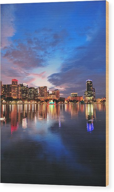 Orlando Downtown Dusk Wood Print