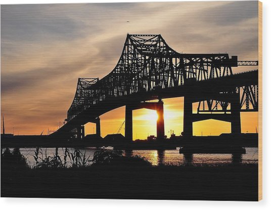 Over The Mississippi Wood Print