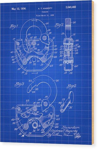 Padlock Patent 1935 - Blue Wood Print