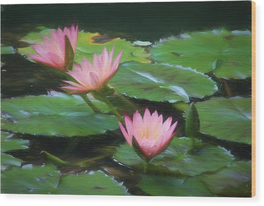 Painted Lilies Wood Print