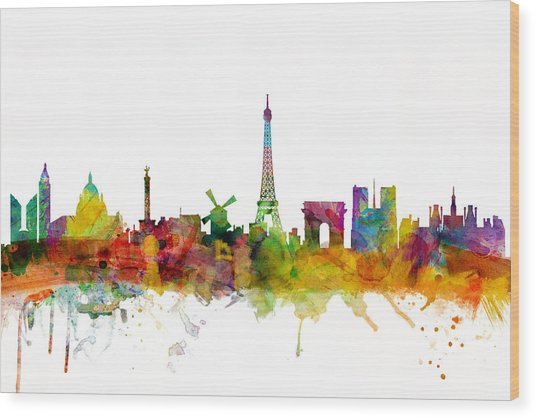 Paris France Skyline Wood Print